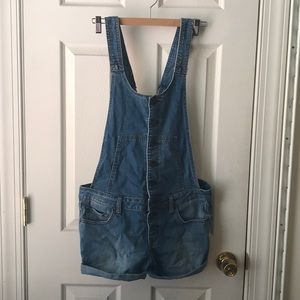 Free People Jean Short Overalls